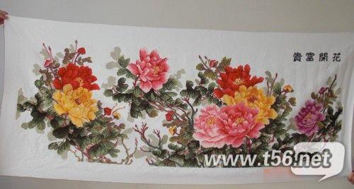 出自己绣的十字绣 花开富贵 六尺牡丹图片